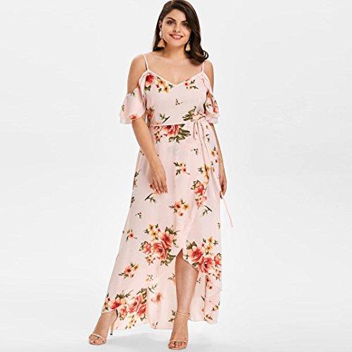elegante escote Vestido delgado estilo corta talla grande flores de informal Hombro hombro en manga Estampado V Adeshop asim bohemio SrdwdqWTxX