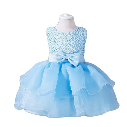 Ruffles Dress for Baby Girl Newborn Wedding Party Light Blue Lace Tulle Tutu Size 16 0-6 Months Special Occasion Tops Bridesmaid Ball Gown Infant Tea Length First Easter Cake Dresses Sky (Blue S) -