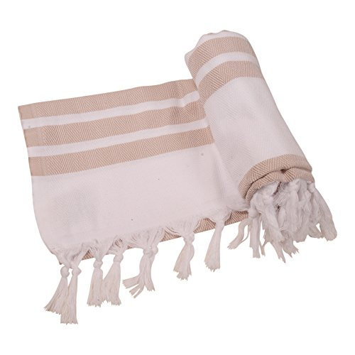 Herringbone Turkish Towel Beach Towel Bath Towel Peshtemal Fouta Spa Sauna Travel Pool Gym Yoga Picnic Camping Throw, 100% Cotton 39''x70'' (Beige) by Anatolia Towel