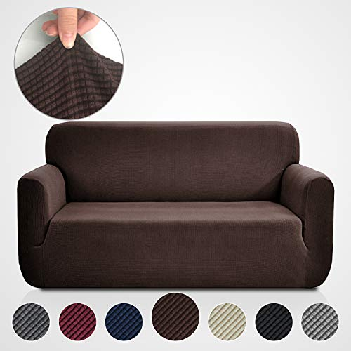 Rose Home Fashion RHF Jacquard-Stretch Sofa Cover, Slipcover for Leather Couch-Polyester Spandex Sofa Slipcover&Couch Cover for Dogs, 1-Piece Sofa Protector(Sofa: Chocolate)