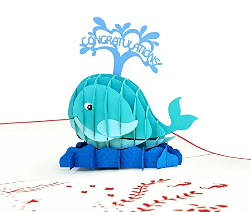 (iGifts And Cards Unique Congratulations Whale (Red Cover) 3D Pop Up Card - Celebration, Success, Congrats Fold Flat - Birthday, Promotion, Graduation, Housewarming, Engagement,)