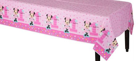 1st Birthday Minnie Mouse Table Cover Party Supplies Minnie Fun to be One!