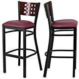 Modern Style Metal Dining Bar Stools Pub Lounge Restaurant Commercial Seats Mahogany Wood Cutout Back Design Black Powder Coated Frame Finish Home Office Furniture - Set of 2 Burgundy Vinyl Seat #2207