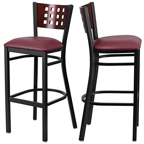 Modern Style Metal Dining Bar Stools Pub Lounge Restaurant Commercial Seats Mahogany Wood Cutout Back Design Black Powder Coated Frame Finish Home Office Furniture - (1) Black Vinyl Seat #2207 by KLS14 (Image #4)
