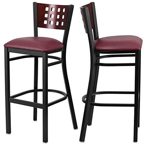 Modern Style Metal Dining Bar Stools Pub Lounge Restaurant Commercial Seats Mahogany Wood Cutout Back Design Black Powder Coated Frame Finish Home Office Furniture - Set of 2 Burgundy Vinyl Seat #2207 by KLS14 (Image #5)