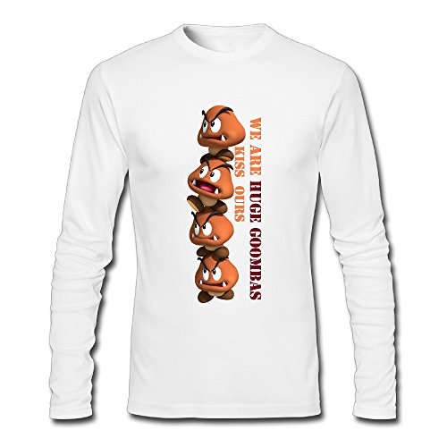 [LCNANA Super Mario Bro Goomba Men's Custom Blank Long Sleeve T-Shirt White M] (Custom Costumes Makers Los Angeles)