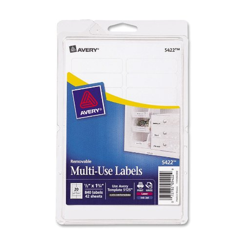 Adhesive Labels Avery - Avery Self-Adhesive Removable Labels, 0.5 x 1.75 Inches, White, 840 per Pack (05422)