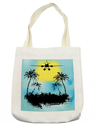Lunarable Vintage Airplane Tote Bag, Topical Island Tree Silhouettes Exotic Getaway Advertisement, Cloth Linen Reusable Bag for Shopping Groceries Books Beach Travel & More, -