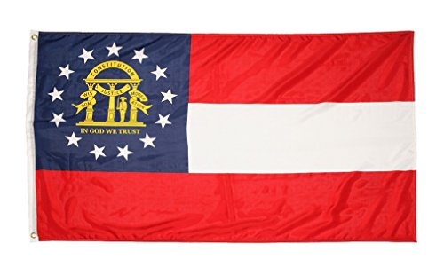 Flag State Georgia - Shop72 US Georgia State Flags - Georgia Flag - 3x5' Flag from Sturdy 100D Polyester - Canvas Header Brass Grommets Double Stitched from Wind Side