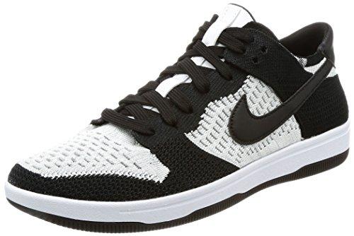 Nike Men's Dunk Flyknit White/Black-Wolf Grey Ankle-High Basketball Shoe - 10M