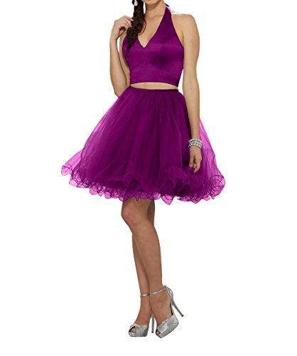 La Dunkel Fuchsia Ausschnitt Brau V Mini Tuell Cocktailkleider mia Rock Tanzenkleider Kurzes Abendkleider Linie Partykleider A 46nZ6r