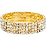 Four Tier Swarovski Element Stretch Clear Crystal Bracelet in Gold