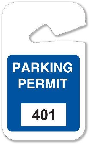 Brady 96265 Rearview Mirror Hanging Tags Stock Parking Permits Blue 401 - 500 2 3/4 W x 4 3/ Height x 2.75 Width Blue (100 per Package) [並行輸入品] B079KLB1TY