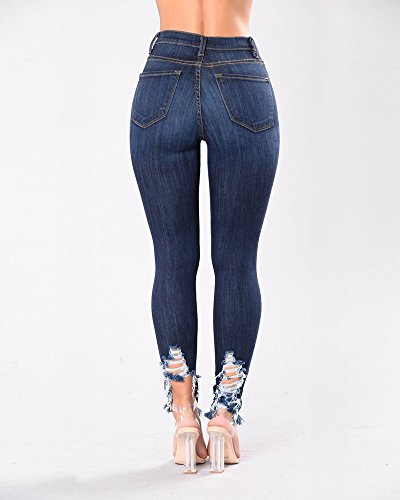 Jean Bleu Trou Dchir Fonc Femmes Denim Pantalons Slim Pantalon Jeans xSqHUwTq