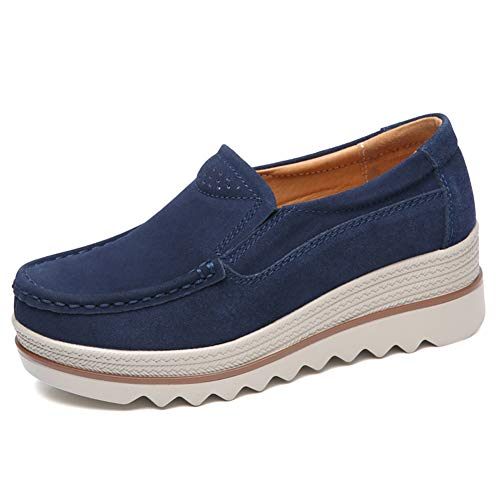 ZYEN Women's Platform Sneakers Slip On Comfortable Loafers Wide Wedge Suede Moccasin Shoes 3088 Navy Blue