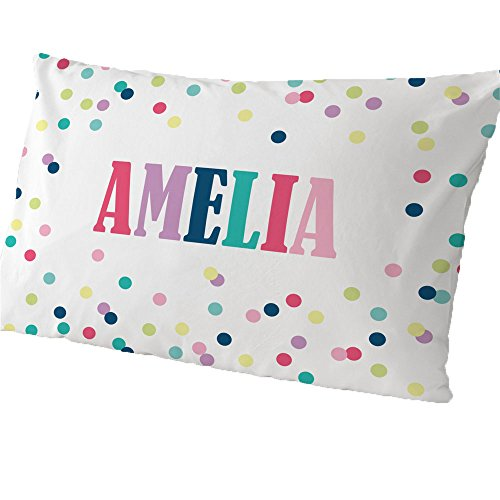 (GiftsForYouNow Polka Dots Personalized Pillowcase, Girl)