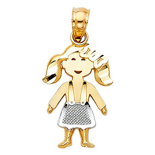 14k Two Tone Gold Girl Charm Pendant