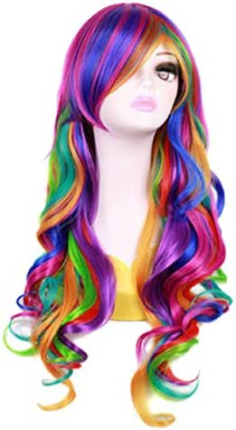 27.56'' Long Women Rainbow Wavy Cosplay Heat Resistant Wig