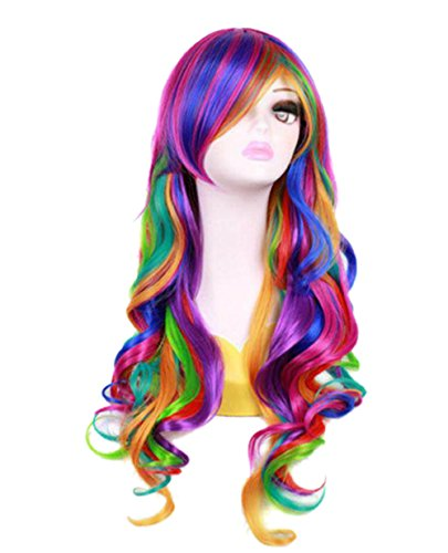 Mardi Gras Wigs (Women 27'' Long Rainbow Big Wavy Ombre Spring Bouquet Cosplay Party Wig Harajuku Style Lolita Spiral Colorful Heat Resistant Fiber Synthetic)