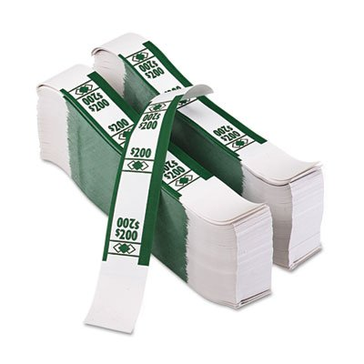 PM Company 55028 Color-Coded Kraft Currency Straps, Dollar Bill, 200, Self-Adhesive, 1000/Pack