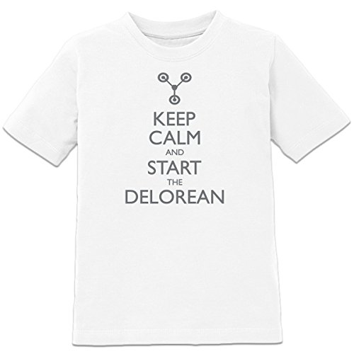 Shirtcity Keep Calm And Start The Dolorean Kids' T-shirt 110-116 White