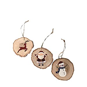 Best Epic Trends 41ZB4aAGDyL._SS300_ Set of 3 Large Oak Christmas Ornaments - Santa, Reindeer & Snowman Hand-Painted Wooden Christmas Tree Decorations…