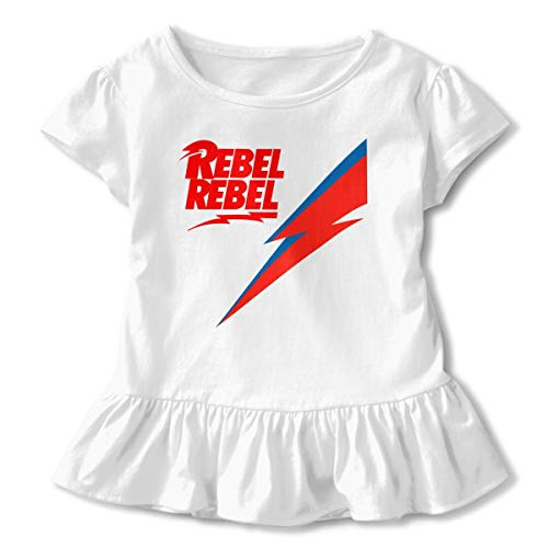 - LIALUER David Bowie Rebel Logo Baby Girls' Short Sleeve Ruffle Tee T-Shirt Cotton Basic Outfit 3T White