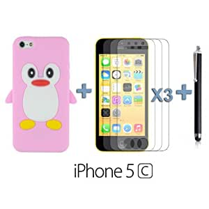 OnlineBestDigital - Penguin Style Silicone Case for Apple iPhone 5C - Pink with 3 Screen Protectors and Stylus