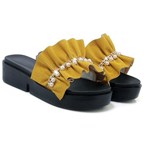 TAOFFEN Womens Thick Sole Mules Slipper Sandals Shoes Yellow MSFtFz