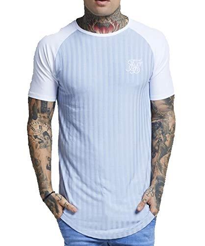 b9eb0357 SikSilk Pastel Blue Ribbed Curved Hem T-Shirt: Amazon.co.uk: Clothing