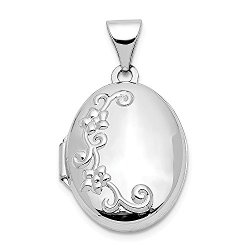 (14k White Gold Photo Pendant Charm Locket Chain Necklace That Holds Pictures Oval Fine Jewelry Gifts For Women For Her)