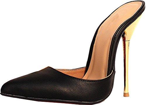 Abby A15 Delle Donne Cena High Heeled 5.5in Discoteca Partito Croce Vestire Di Fronte Us9-18 Scarpe A Punta Pu Sandalo Pantofola Nero-a