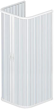 Rollplast - Puerta de ducha a fuelle BSAT2CONCC2808080, 80 x 80 x 80 x (altura) 185 cm, de PVC, a 3 lados, 2 puertas, con apertura central, blanca: Amazon.es: Bricolaje y herramientas