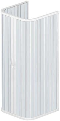 Rollplast BSAT2CONCC28090090 Mampara de ducha con fuelle, tamaño 90 x 90 x 90 x 185 H cm, PVC, con tres lados, dos puertas con abertura central, color blanco: Amazon.es: Bricolaje y herramientas