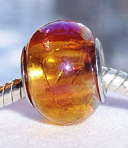 Amber Gold AB Iridescent Orange Murano Glass Bead for European Charm Bracelets Jewelry Making Supply by Wholesale Charms