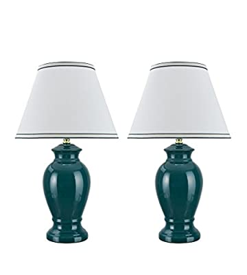 """Aspen Creative 40071, Two Pack Set 21 1/2"""" High, Traditional Ceramic Table Lamp, Green with Hardback Empire Shaped Lamp Shade in Off-White, 13"""" Wide"""