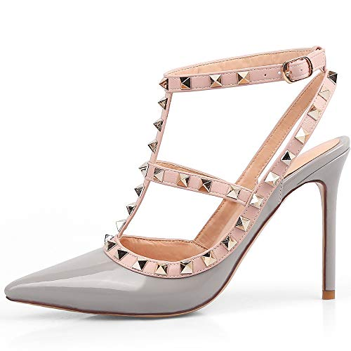 4 Inch Slingback Pump Shoes - Chris-T Women Pointed Toe Studded Strappy Slingback High Heel 4 Inches Leather Pumps Stilettos Sandals