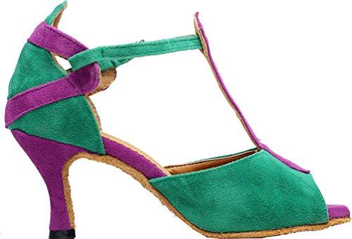 Abby Q-6212 Vrouwen Latin Salsa Tango Cha-cha Ballroom Kitten Hak Peep-toezoeten Professionele Dansschoenen Groen