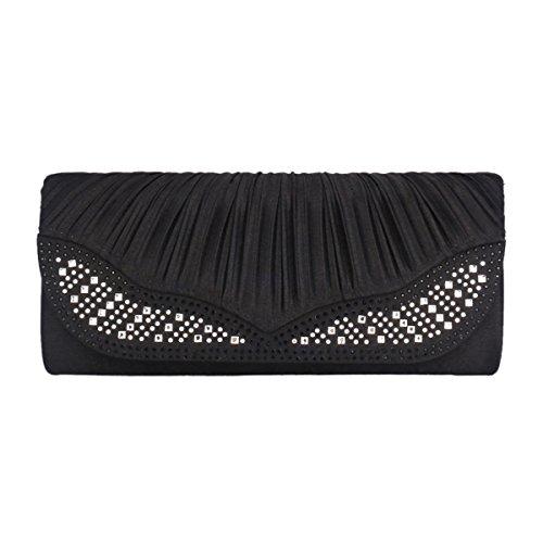 Damara Señoras Bolsa De Noche A Mano Al Hombro Efecto Plisado Diamantes Brillantes En Solapa Elegante En Bodas,Albaricoquero Negro