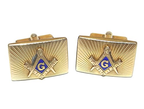Vintage 12K Gold Filled Anson Cufflinks with Enameled Masonic Emblem Tops (Cufflinks Enameled)
