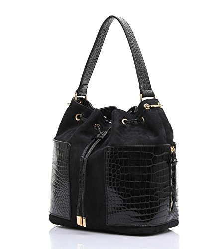 STORE CLOSING SALE!!! Siena Tote-Shaped Bucket Shoulder Bag (Black) (Gold Bag Shoulder Medium)