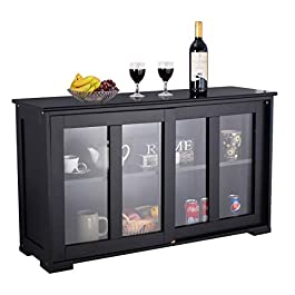 WATERJOY Storage Cabinet, Home Buffet Kitchen Table with Sliding Door Tempered-Glass Panels Stackable Sideboard Cupboard Storage Cabinet, Antique Black