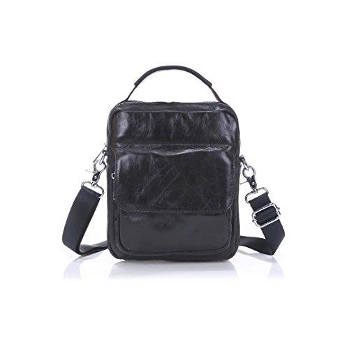 Becoler Men's Vintage Leather Briefcase Leather Shoulder Messenger Bag (Black) (Zelda Messenger Canvas Bag)