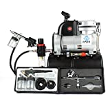 WST 0.2mm 0.3mm 0.5mm 0.8MM Gravity Dual Single Action Airbrush Kit with Air Tank Compressor for Hobby - T-shirt , 110v