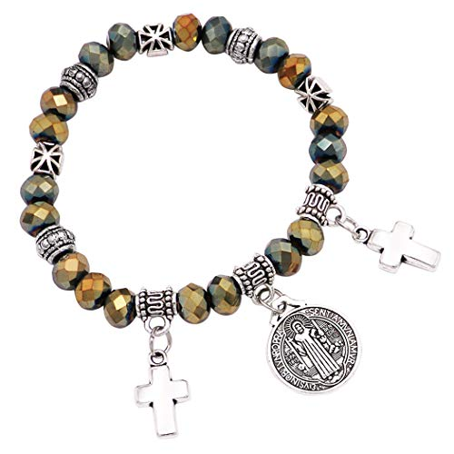 Rosemarie Collections Women's Religious Beaded Stretch Bracelet with Saint Benedict Bracelet Medal and Cross Charms (Hematite)