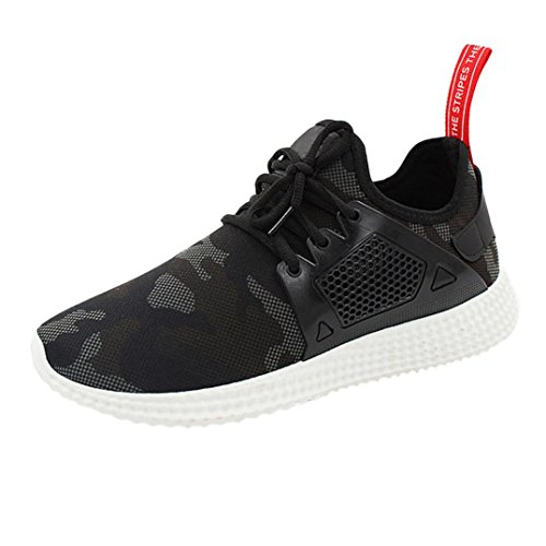 Fashion Sneaker  Hometom Mens Fashion Straps Sports Running Sneakers Solid Shoes  8 5 B M  Us  Black