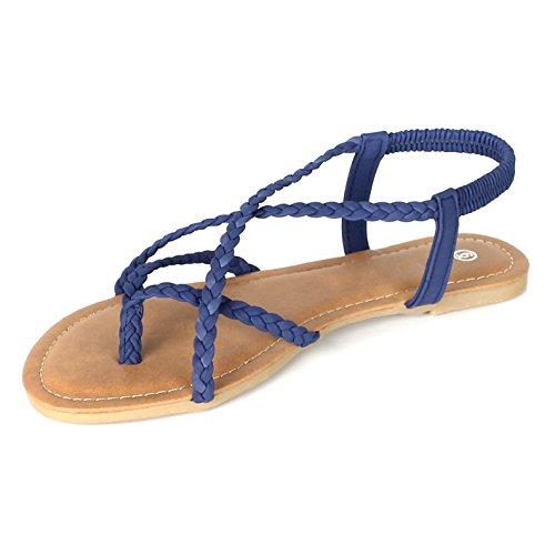 Navy Braided Flip Strap ANNA Flat Sandal Flop Women's Strappy Y n7HqxvPw
