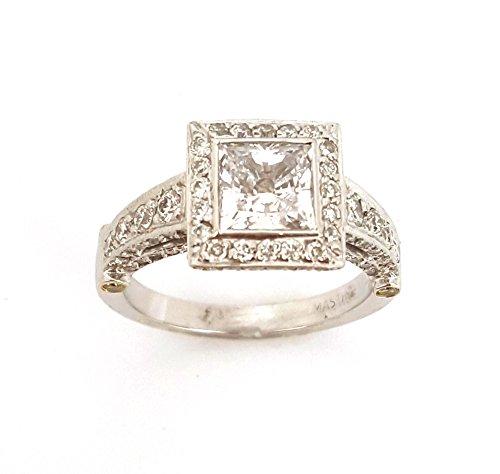 1.0 CTS Princess Cut Square Halo Semi-Mount Diamond 18k Engagement Wedding Ring