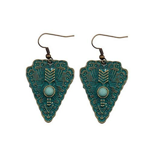 Crookston Womens Vintage Fashion Cooper Green Rust Carved Drop/Dangle Hook Earrings   Model ERRNGS - 1905 -