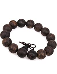 GUOXTIANG Brand 15-20mm Men's Women's Indonesia Black Agilawood Wood Bracelet Natural Fragrance Mala Adjustable Chinese Knot